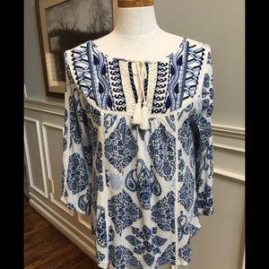 Lucky Brand Boho style 3/4 sleeve top